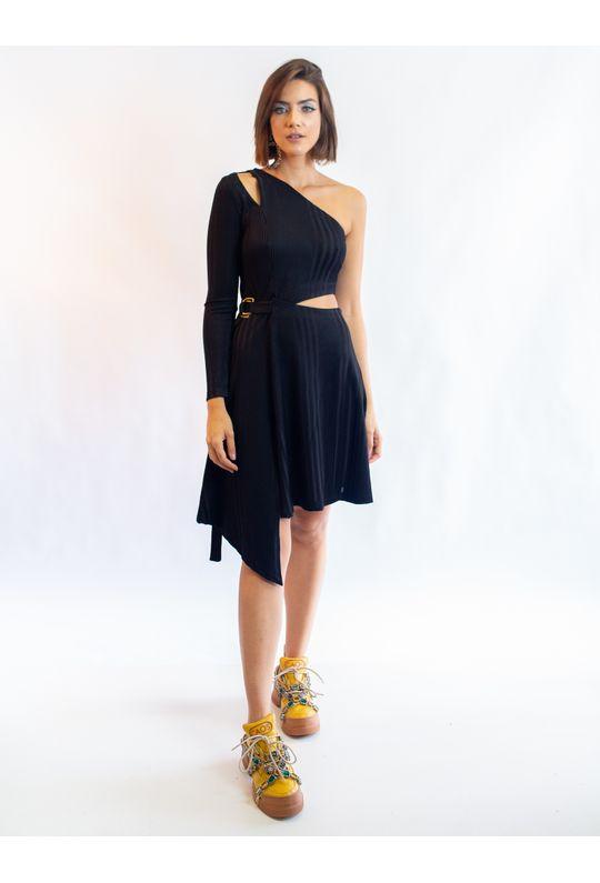 Vestido-Curto-De-Malha-Um-Ombro-So-Com-Recortes