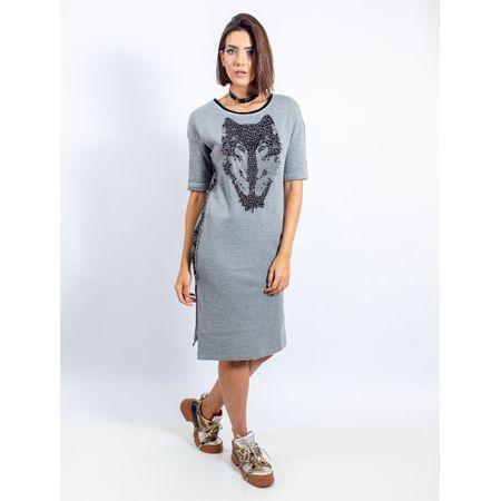 Vestido Longuete De Moletom Mescla Com Transfer