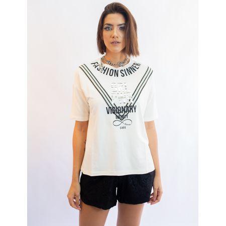 Blusa De Malha Com Adesivo Fashion Sinner Retilíne