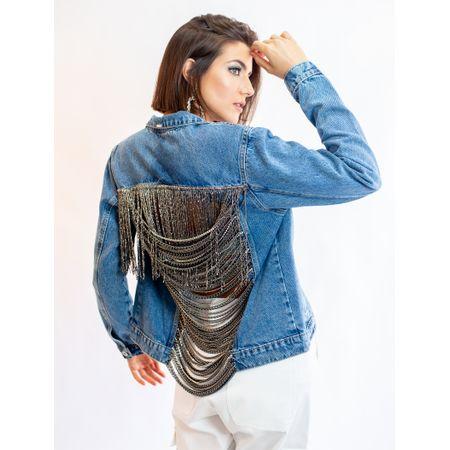 Jaqueta Jeans Com Bordada De Correntes Nas Costas