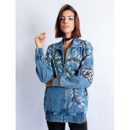 Jaqueta Bomber Jeans Com Bordado Folhas