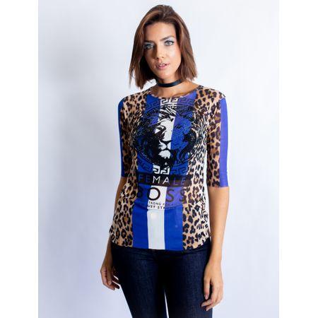 Blusa De Tule Com Silk Blue Tiger Female Boss Com