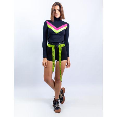 Blusa De Malha Canelado Com Detalhe Neon