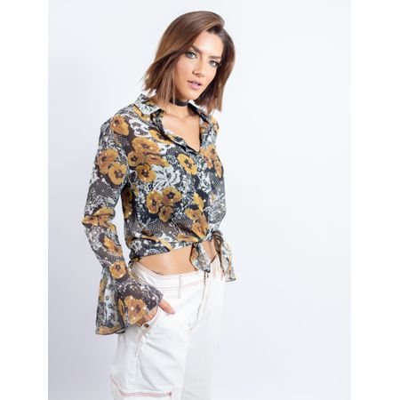 Camisa De Chiffon Estampa Flower Lace