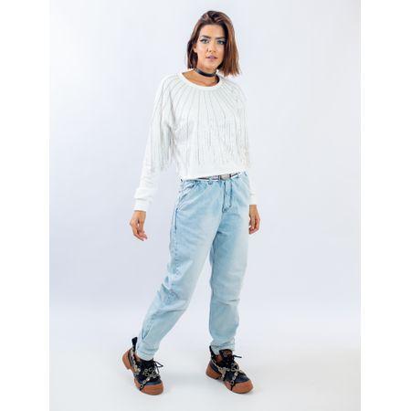 Calça Mom Jeans Elástico E Cinto Bordado