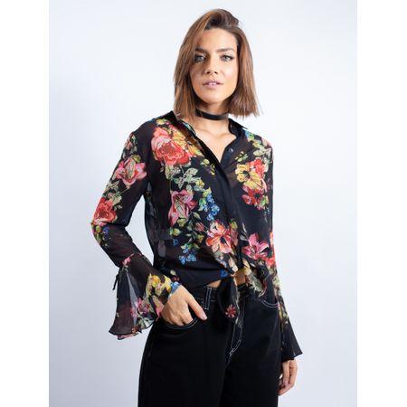 Camisa De Chiffon Com Babado Estampa Floral