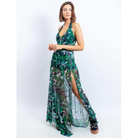 Vestido Longo De Tule Estampa Mix