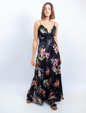 Vestido-Longo-De-Cetim-Estampa-Floral-Fundo-Preto