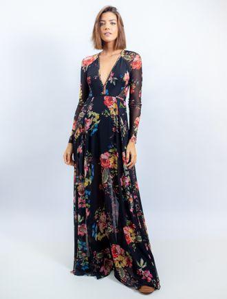 Vestido-Longo-De-Chiffon-E-Tule-Estampa-Floral-Fun