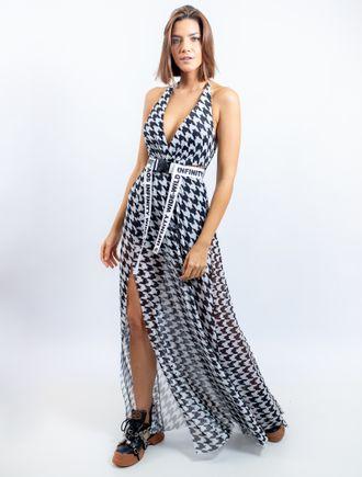 Vestido-Longo-De-Tule-Com-Decote-Cavado-Fenda