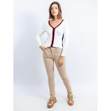 Calça Skinny De Sarja Detalhe Lateral