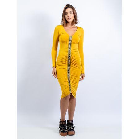 Vestido Midi De Malha Com Elástico Silkado