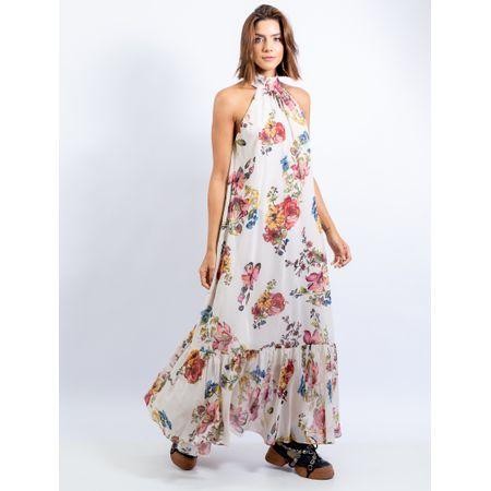 Vestido Longo De Chiffon Estampa Floral