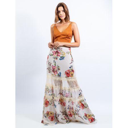 Saia Longa De Chiffon Com Renda Estampa Floral