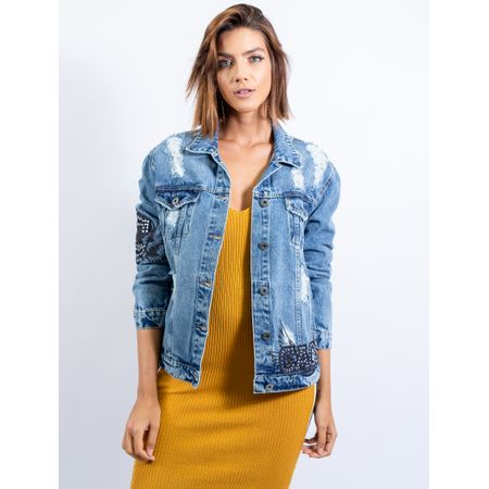 Jaqueta Jeans Com Patchs