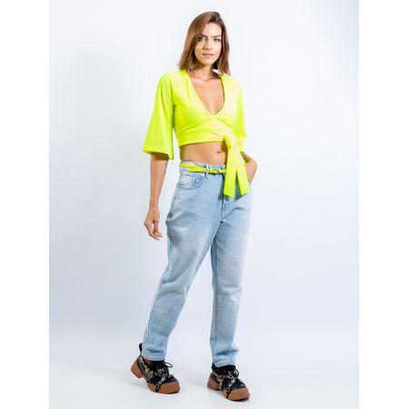 Calça Mom Jeans Com Cinto Flúor