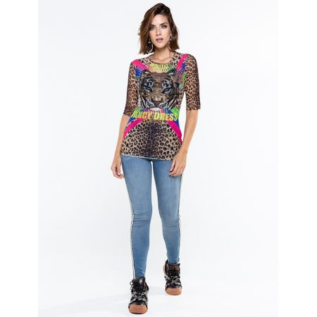 Blusa De Tule Com Silk Caos Fancy Dress Tiger
