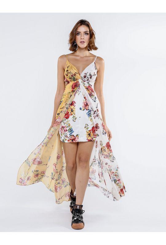Vestido Longo De Chiffon Estampa Floral New Mobile Lojacaos