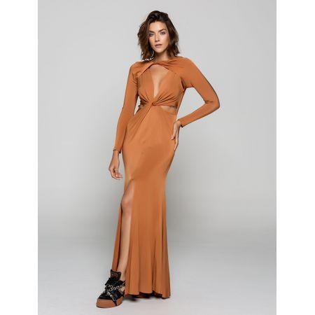 Vestido Longo De Malha Com Decote Cavado E Recorte