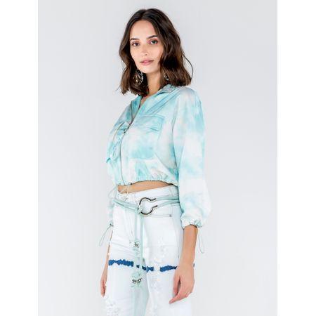 Jaqueta De Nylon Estampa Tie Dye Cloud Com Adesivo
