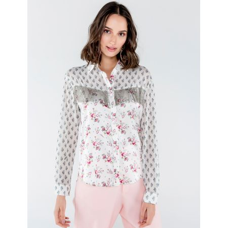 Camisa De Cetim E Tule Estampa Mix Floral Com Bord