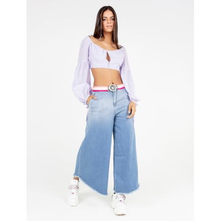Calça Jeans Maxi Pantalona Degrade
