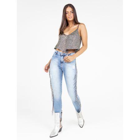 Calça Jeans Skinny Bordado Franja