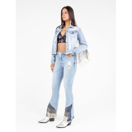 Jaqueta Jeans Com Bordado Franjas