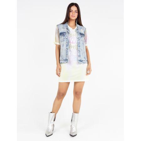 Colete Jeans Com Bordada
