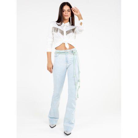 Calça Super Flare Jeans Delavê