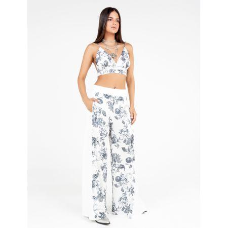 Calça Pantalona Estampa Floral P&B