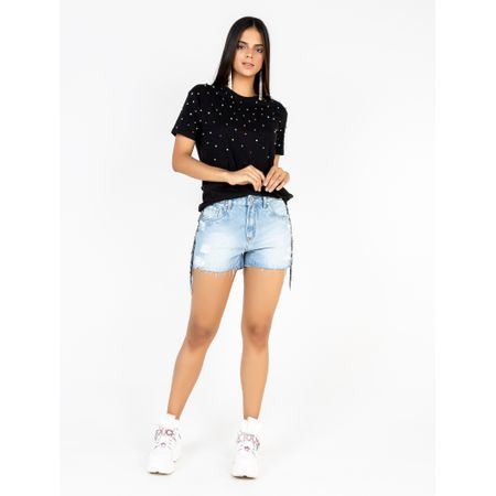 Short Jeans Bordado Franja