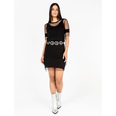 Vestido Midi De Trico Com Tule