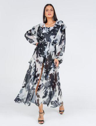 Vestido-Longo-Com-Babados-Manga-E-Saia-De-Chiffon-
