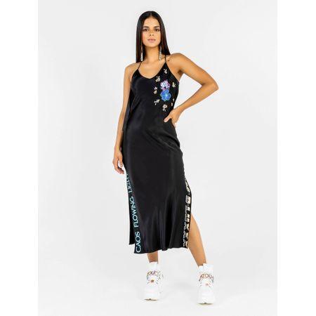 Vestido Midi De Alça De Viscose Com Patchs Flor E