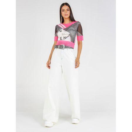 Blusa Cropped De Tule Com Elástico Collors E Silk