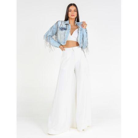 Jaqueta Jeans Cropped Bordado Franja