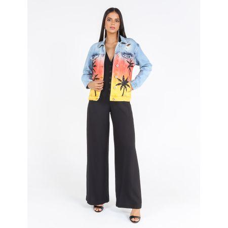 Jaqueta Jeans Com Pintura E Patchs Coqueiros Com T