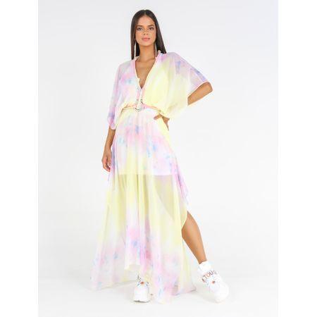 Vestido Longo De Chiffon Estampa Manchado Clean Co