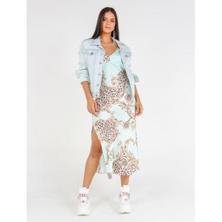 Jaqueta Jeans Delavê Adesivo Costas Flor Tropical