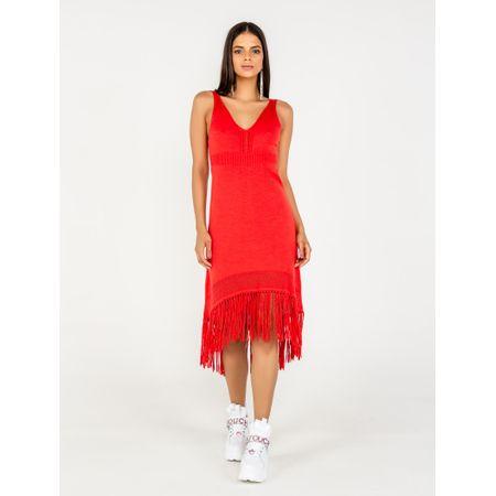 Vestido Curto De Tricot Com Franjas