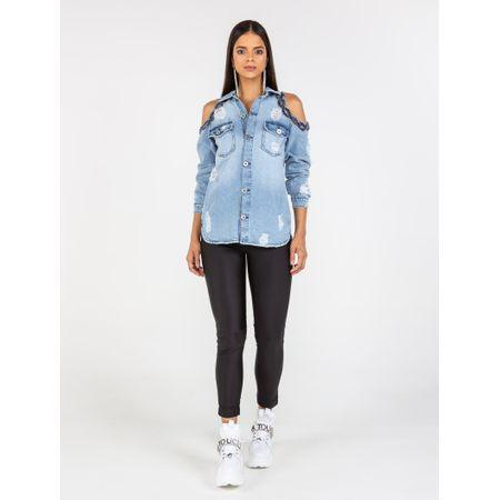 Camisa Jeans Rasgo No Ombro