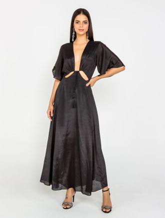 Vestido-Longo-De-Viscose-Manga-Ampla-Fenda-Costas