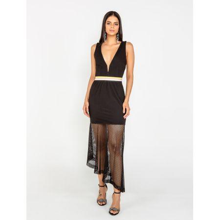 Vestido Midi De Tela Detalhe Elástico Estampa De L