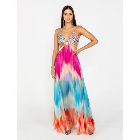 Vestido Longo Estampa Tie Dye Mixer