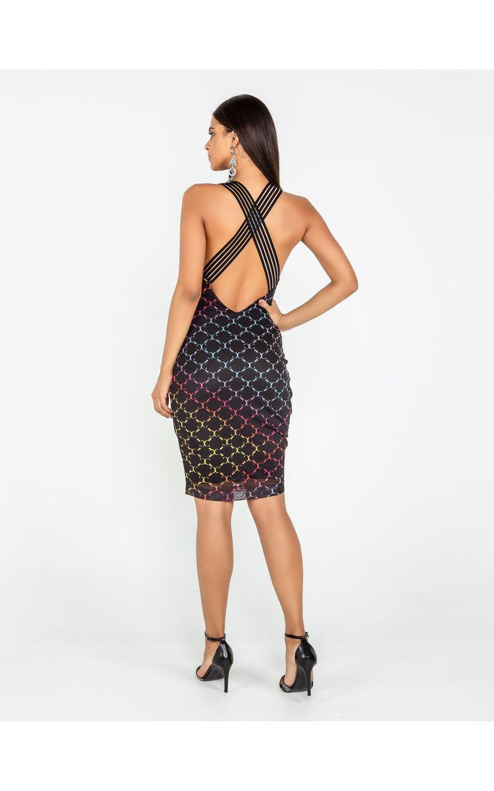 Foto 3 - Vestido Curto De Tule Com Elástico Cruzado Costas