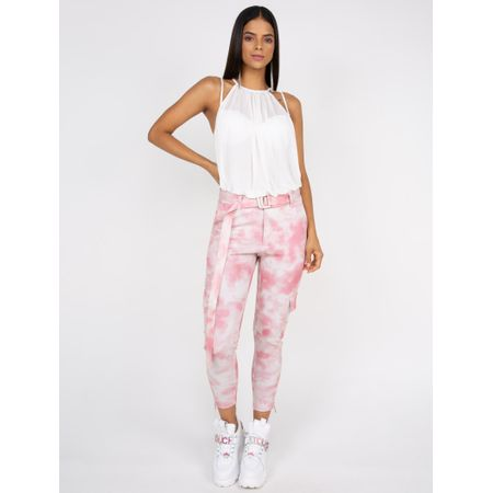 Calça Estampa Tye Die Cloud Com Cinto Estampado