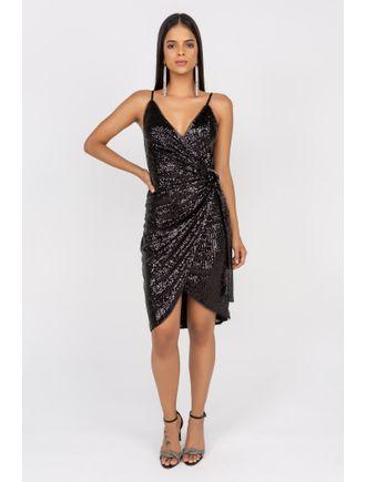 Vestido-Curto-De-Paete-Com-Fivela-E-Cinto-Lateral