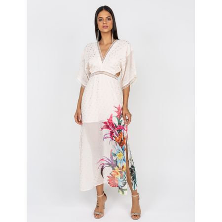 Vestido Longo Decote  V Com Detalhes Em Renda