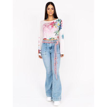 Blusa De Tule Estampa Floral Dolce Com Transfer